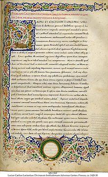 Comienzo de las Instituciones divinas de Lactancio en un manuscrito renacentista escrito en Florencia ca. 1420�1430 por Guglielmino Tanaglia.
