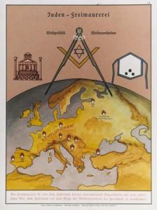 Cartel de propaganda nazi anti-judío y anti-masónico.