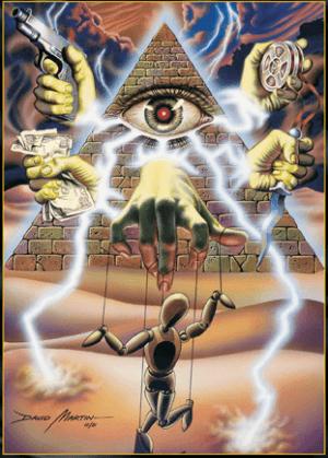 Portada de un videojuego aludiendo al mito de la conspiración masónica mundial.