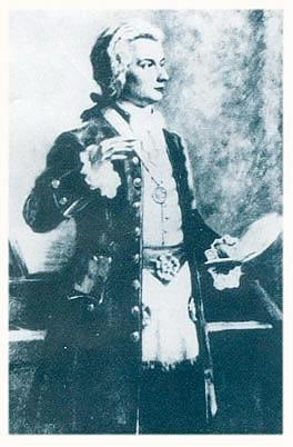 Cuadro de Mozart con indumentaria masónica