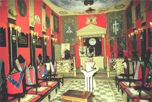 Recreación de un Templo masónico en el Museo de la masonería, Archivo Histórico Nacional de Salamanca