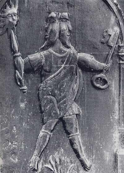 Jano bifronte, capilla de Saint-Vulphy, sigloXVI, Rue (Francia)