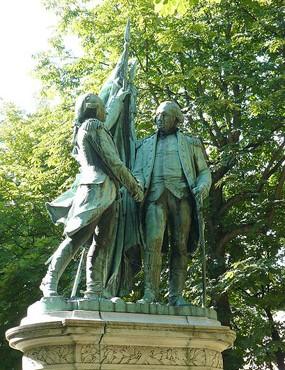 Estatua de Lafayette y Washintong en Nueva York, obra de bartholdi (1876).