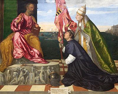 Alejandro VI y Jacopo Pesaro ante San Pedro, Tiziano, 1509. La escena naval del fondo, el estandarte y el yelmo ambientan bien el momento histórico.
