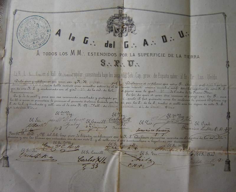 Diploma de Maestro Masón, con la firma de Martí, como Secretario, en la primera línea de firmas, a la izquierda