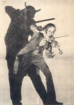 """La sombra del diablo"", dibujo satírico dedicado a Paganini"